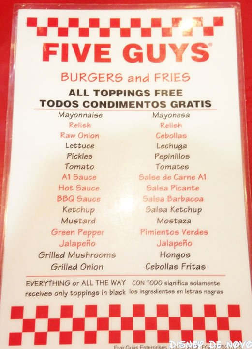 Five Guys Complementos