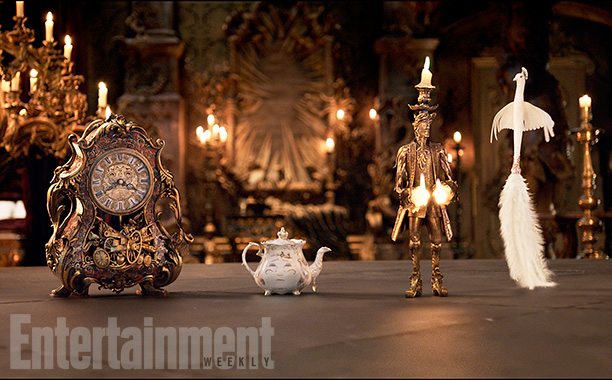 Beauty and the Beast (2017) The mantel clock Cogsworth, the teapot Mrs. Potts, Lumiere the candelabra and the feather duster Plumette