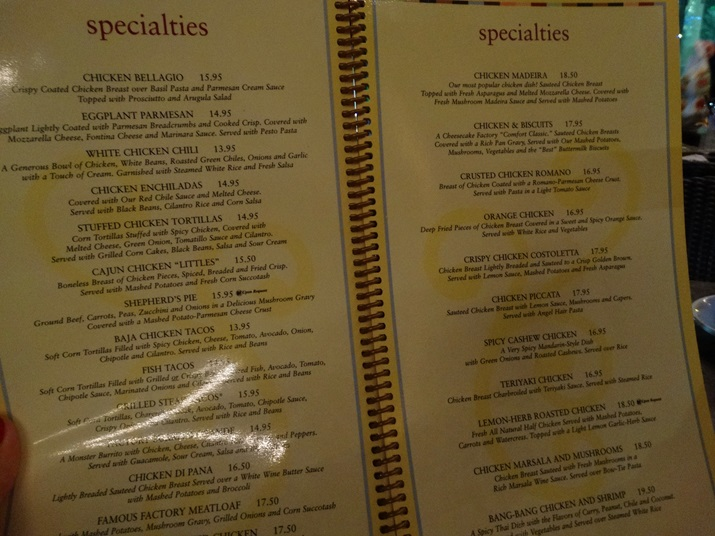 Cheesecake Factory Orlando Menu