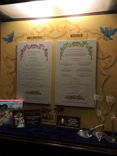 Cinderella's Royal Table Menu