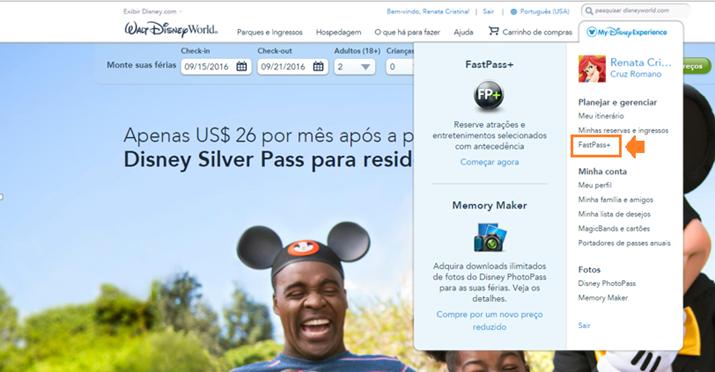 Agendar o fastpass da Disney