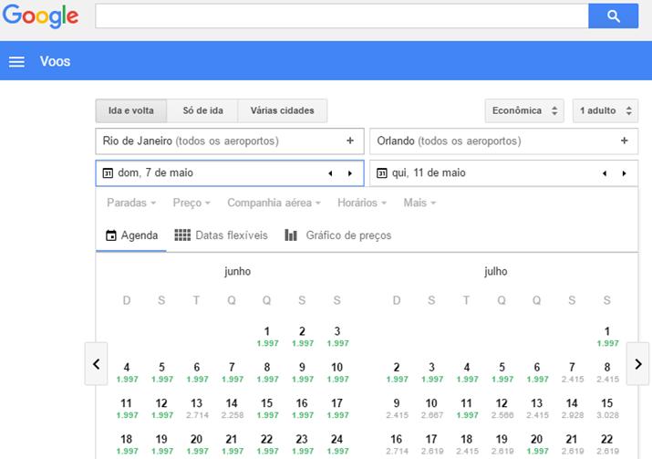 Google Flights Pesquisa