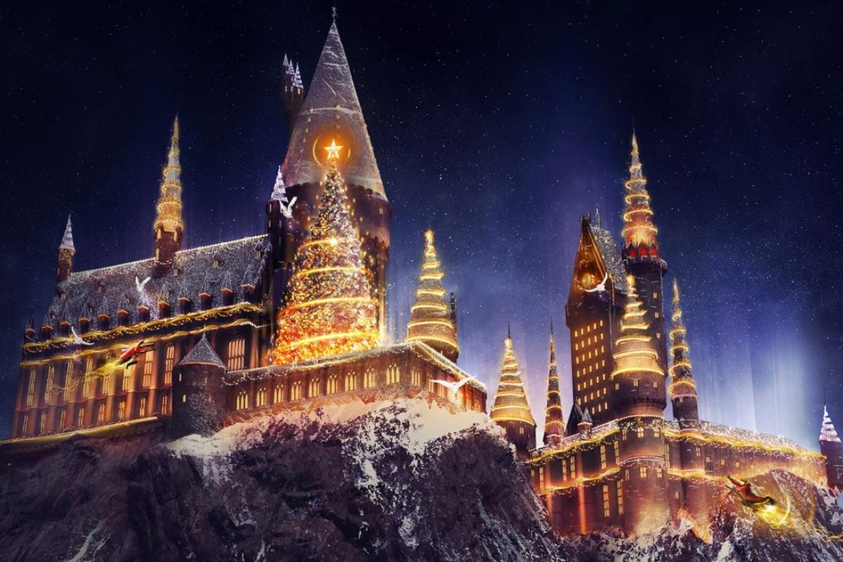 Natal nas áreas do Harry Potter da Universal