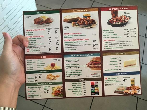 Pollo Tropical Orlando Menu