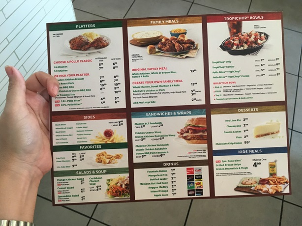Pollo Tropical Orlando Menu