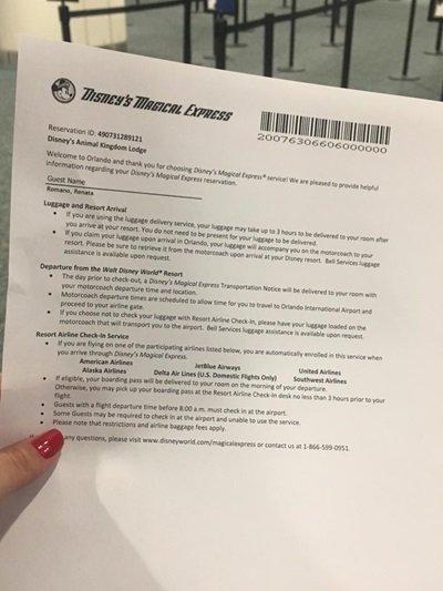 Disney's Magical Express reserva papel