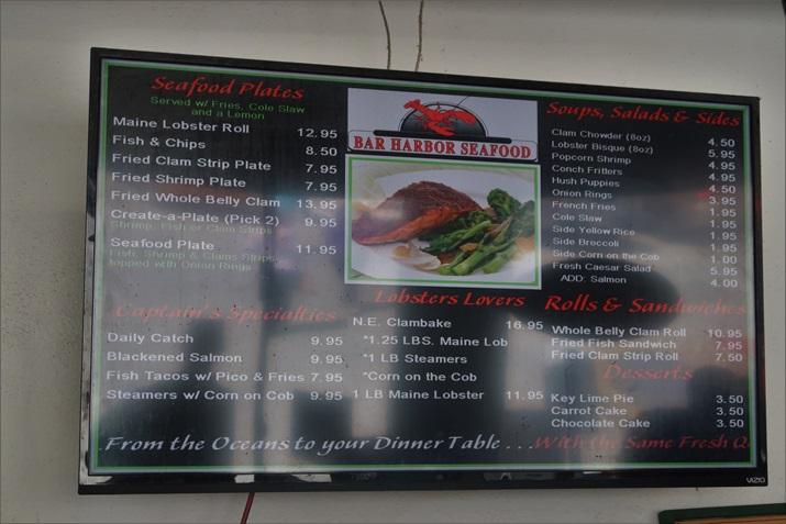 Bar Harbor Seafood menu