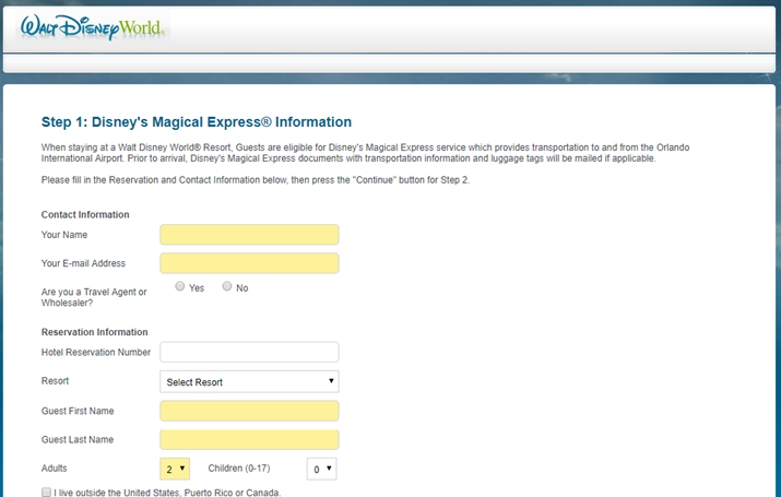 Disney's Magical Express reserva