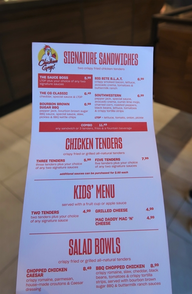 chicken guy menu